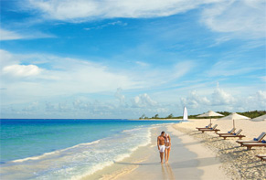 The sandy-white Maroma Beach with the crystal clear Caribbean view